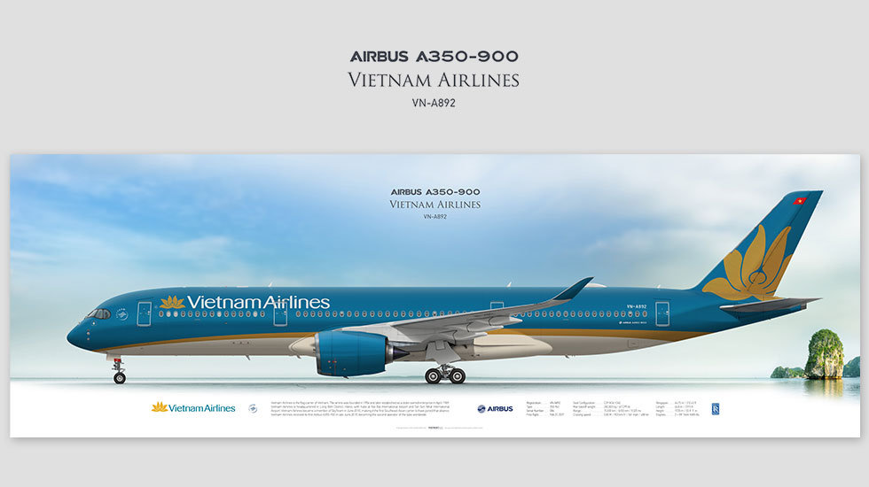Airbus A350-900 Vietnam Airlines, posterjetavia, airliners profile prints, aviation collectibles prints