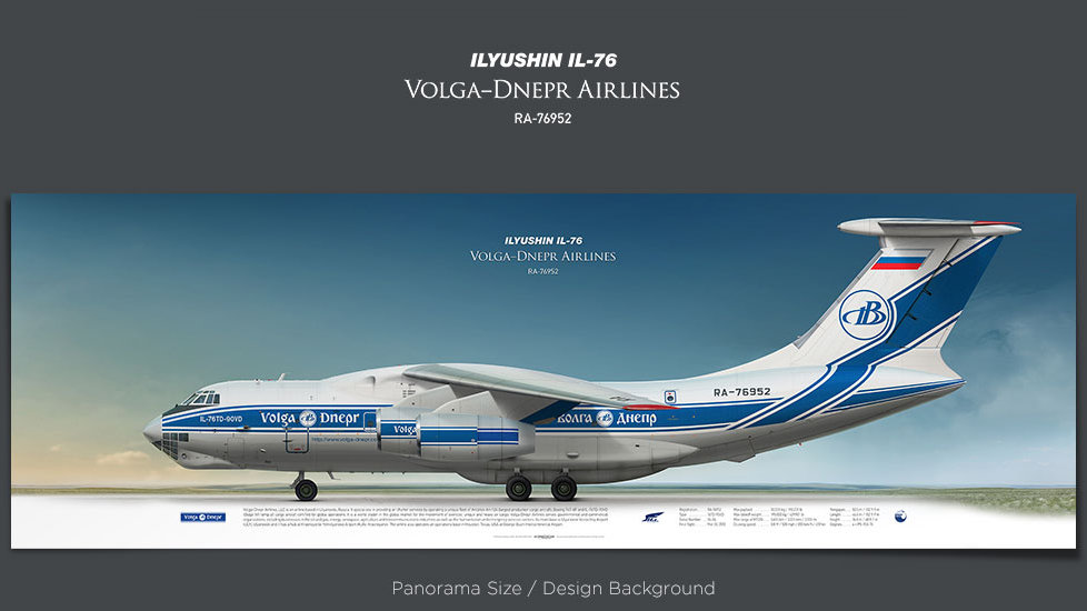 Ilyushin Il-76 Volga-Dnepr Airlines, plane prints, retired pilot gift, aviation posters, airliners prints, soviet cargo plane