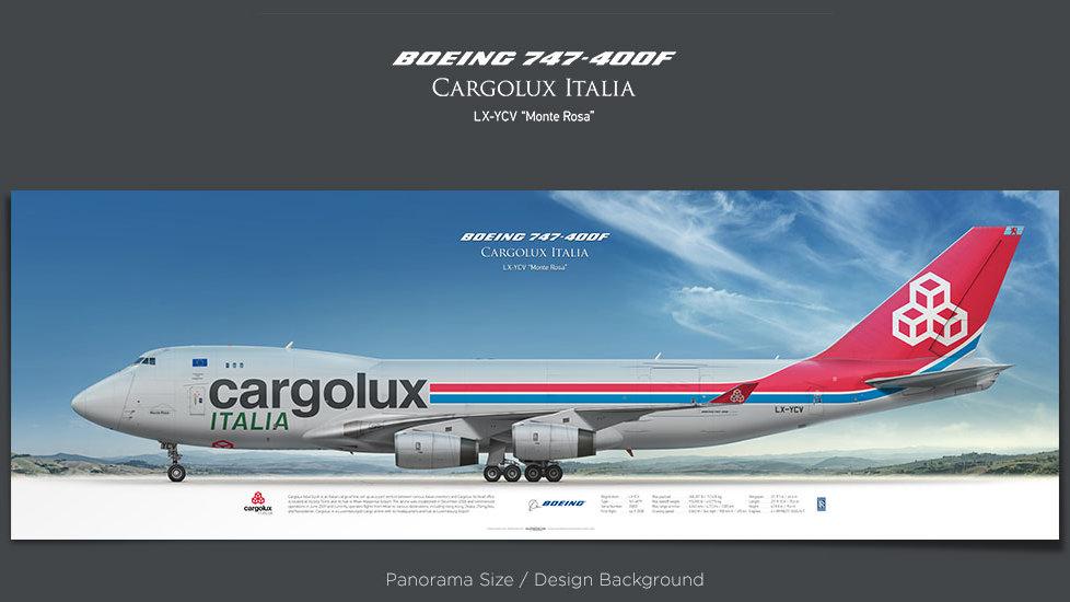 Boeing 747-400F Cargolux Italia, plane prints, retired pilot gift, aviation posters, jumbojet, cargo plane, queen of the sky
