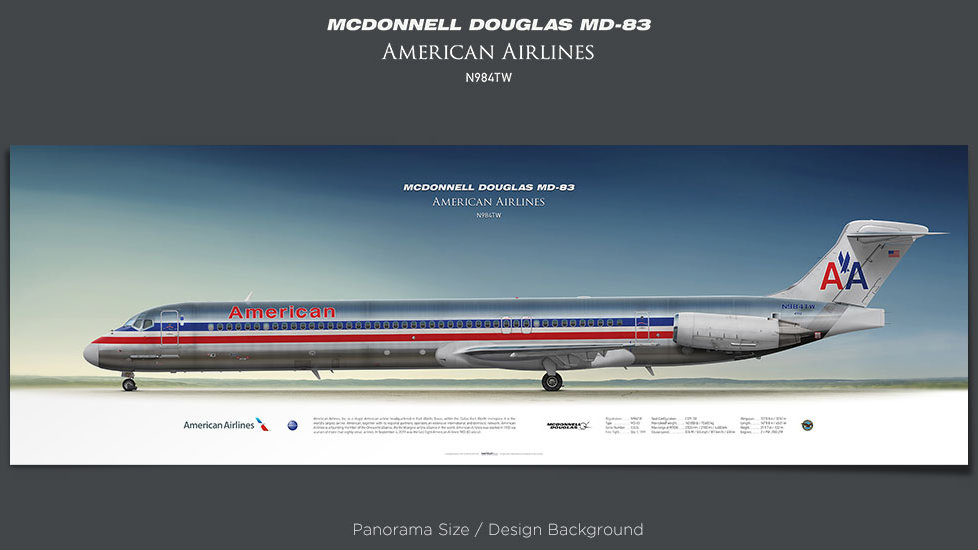McDonnell Douglas MD-83 American Airlines, plane prints, retired pilot gift, aviation posters, airliners prints, ttail
