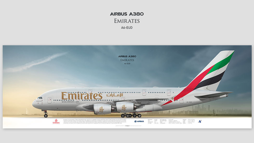 Airbus A380 Emirates, gift for pilots, aviation art prints, aircraft print, custom posters, plane picture, superjumbo