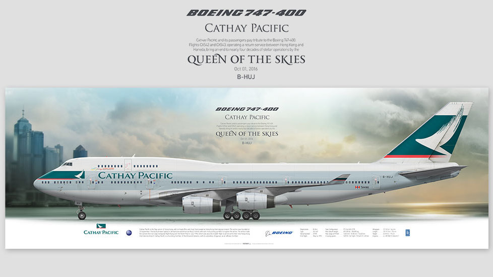 Boeing 747-400 Cathay Pacific, posterjetavia, airliners profile prints, aviation collectibles prints