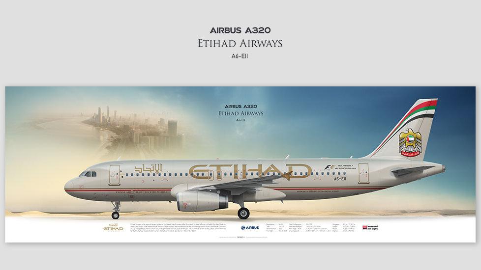 Airbus A320 Etihad Airways, posterjetavia, gifts for pilots, aviation, aviation art , avgeek, airplane pictures, ETD