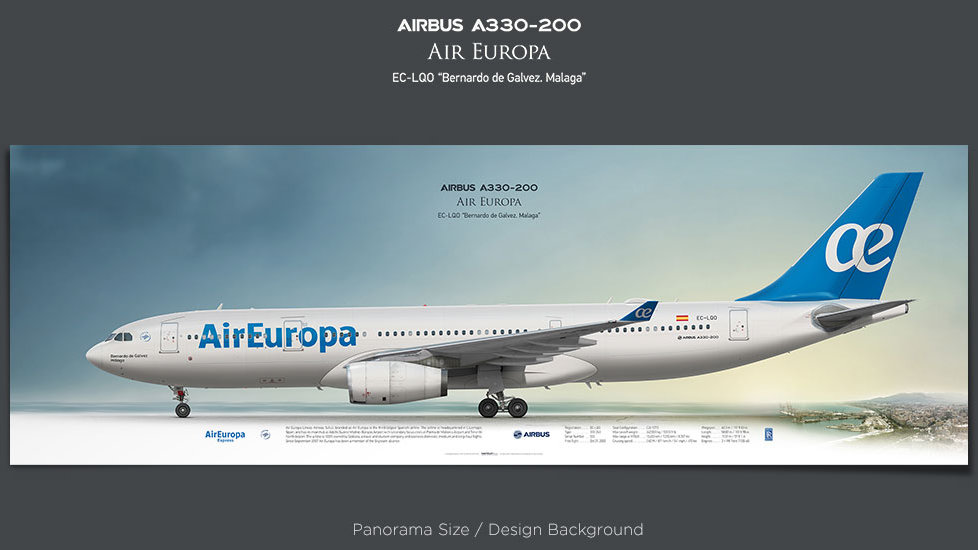 Airbus A330-200 Air Europa, AEA, plane prints, retired pilot gift, aviation posters, airliners prints, civil aircraft