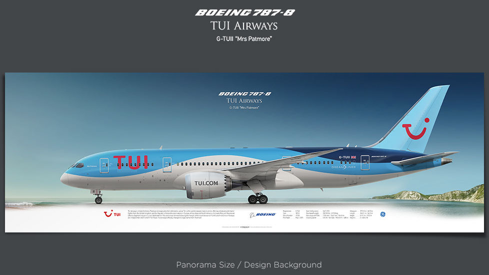 Boeing 787-8 TUI Airways, plane prints, retired pilot gift, aviation posters, airliners prints, dreamliner, civil aircraft