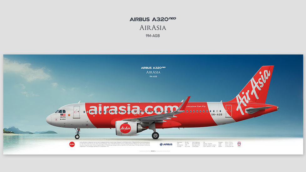 Airbus A320neo AirAsia, posterjetavia, profile prints, gift for pilots, aviation, airplane picture, airline, malaysia