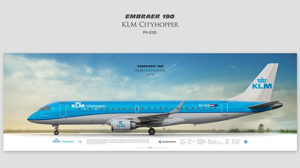 Embraer 190 KLM Cityhopper, posterjetavia, profile prints, gift for pilots, aviation, airplane picture, airline