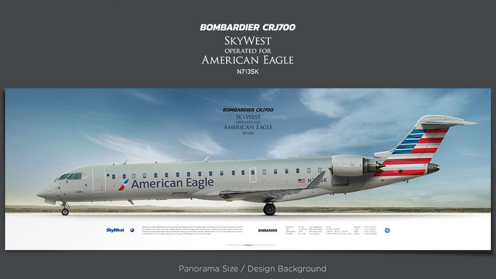 Bombardier CRJ700 SkyWest Airlines, American Eagle, plane prints, retired pilot gift, aviation posters, regional aircraft