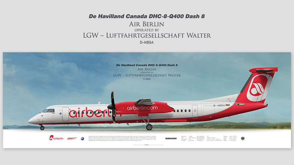 DHC-8-Q400 Air Berlin, posterjetavia, gifts for pilots, aviation, aviation art, avgeek, airplane pictures, BER, dash8