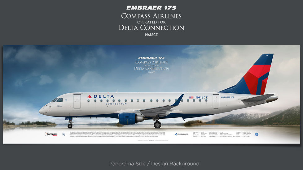 Embraer 175 Compass Airlines, Delta Connection, plane prints, retired pilot gift, aviation posters, airliners prints