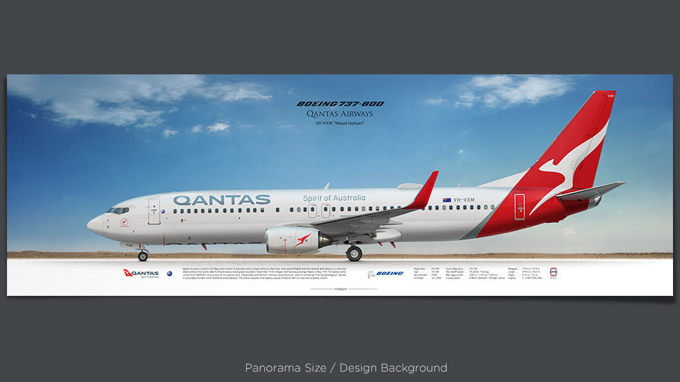 Boeing 737-800 Qantas Airways, plane prints, retired pilot gift, aviation posters, airliners prints