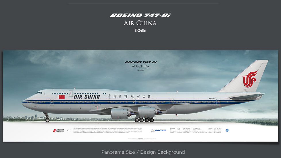 Boeing 747-8i Air China, plane prints, retired pilot gift, aviation posters, queen of the sky, jumbojet, CCA, jetliner