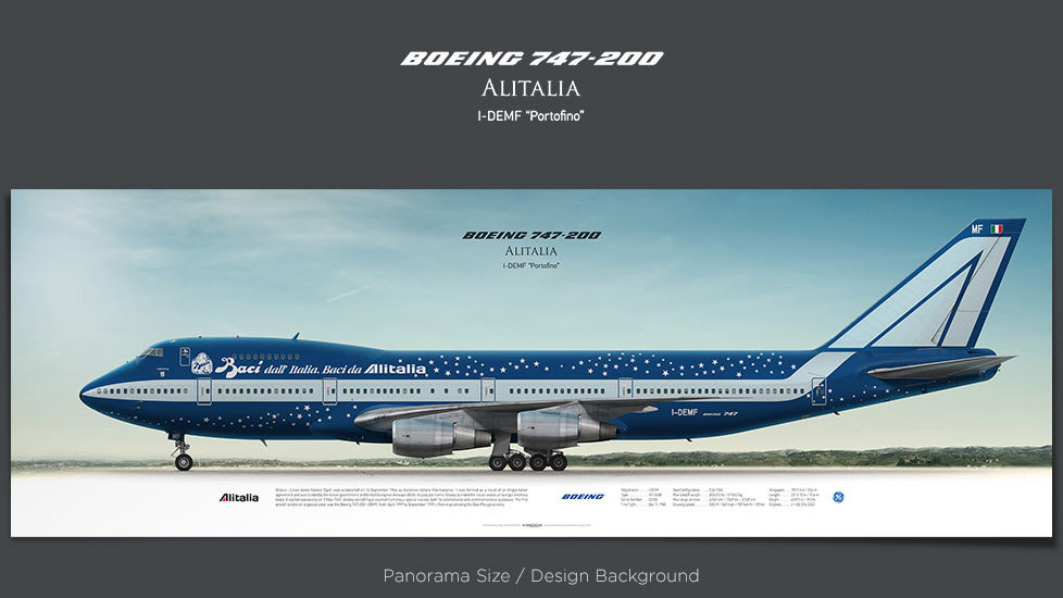 Boeing 747-200 Alitalia, plane prints, retired pilot gift, aviation posters for sale, boeing poster, vintage aircraft, AZA