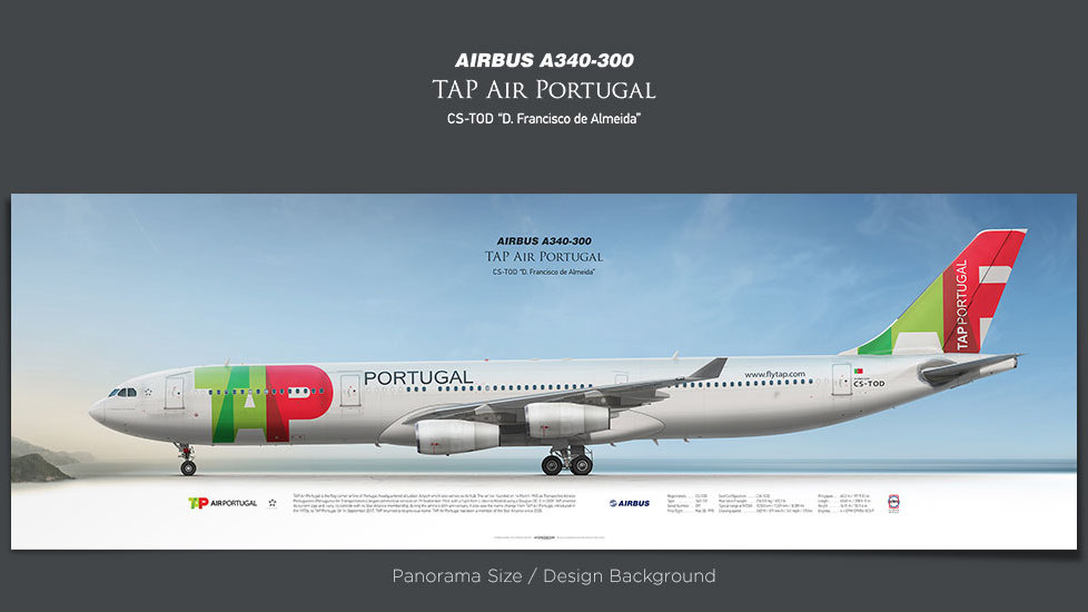 Airbus A340-300 TAP Air Portugal, gifts for pilots, aviation prints, aircraft posters, custom posters, retired pilot