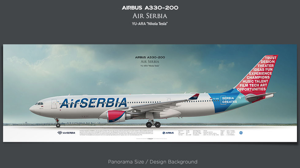 Airbus A330-200 Air Serbia, retired pilot gift, aviation posters, airliners prints, etihad, civil aircraft, jetliner image
