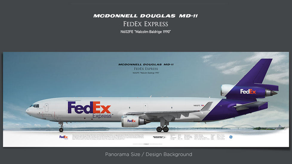 McDonnell Douglas MD-11 FedEx Express, plane prints, airplane poster, retired pilot gift, airline prints, cargo plane, FDX