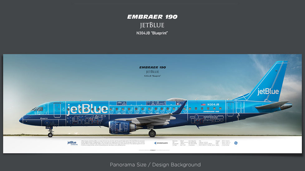 Embraer 190 JetBlue Airways, plane prints, retired pilot gift, aviation posters, regional jet, regional airline, ejets, JBU