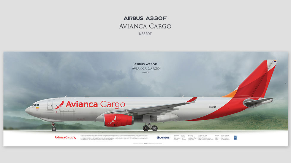 Airbus A330F Avianca Cargo, posterjetavia, gifts for pilots, aviation, airliner, pilotlife, aviationdaily, aviationart