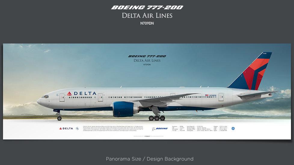 Boeing 777-200LR Delta Air Lines, plane prints, retired pilot gift, aviation posters, airliners prints, civil plane print