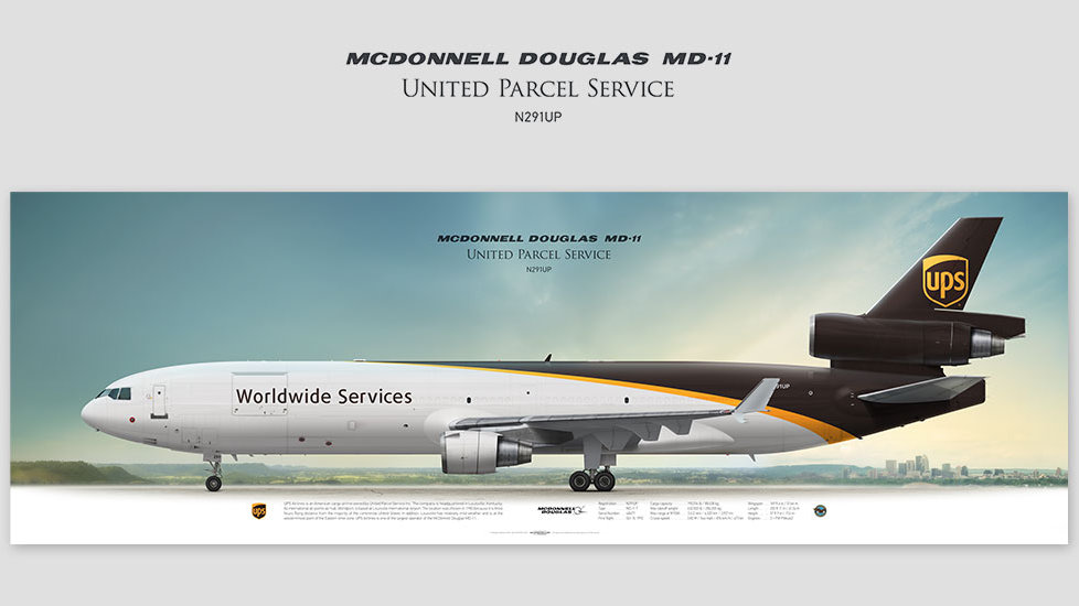 MD-11F UPS Airlines, gift for pilots, aviation prints, pilot wall decor, avia poster, aircraft profile prints