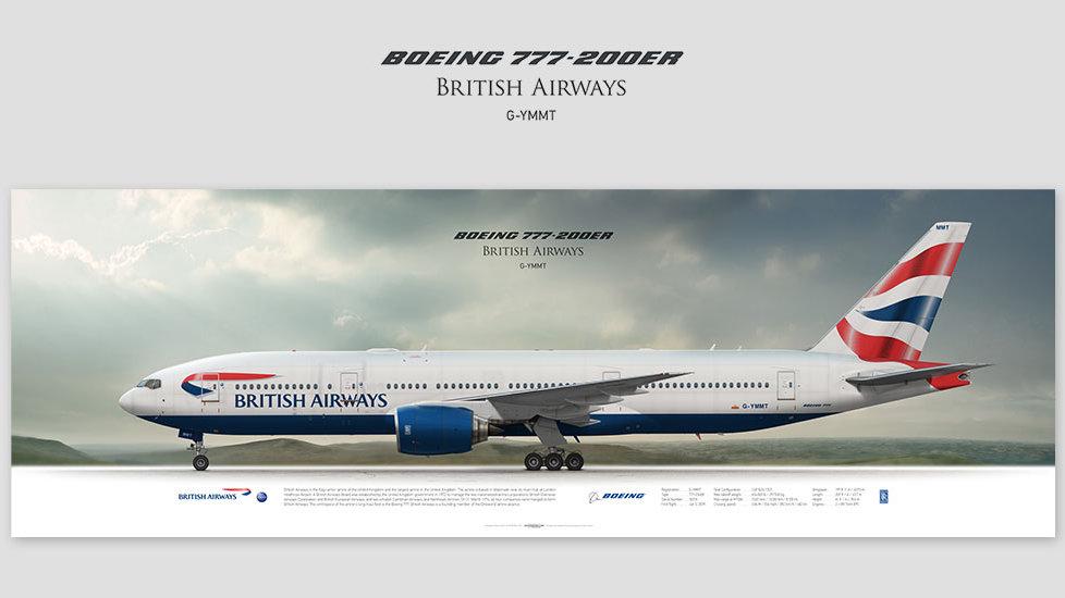 Boeing 777-200ER British Airways, gift for pilots, aviation art prints, aircraft poster, custom posters, speedbird