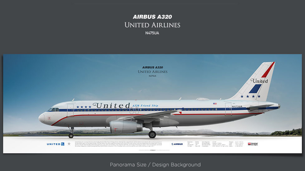 Airbus A320 United Airlines, plane prints, retired pilot gift, aviation posters, Friend Ship, retrojet, UAL, airliners prints
