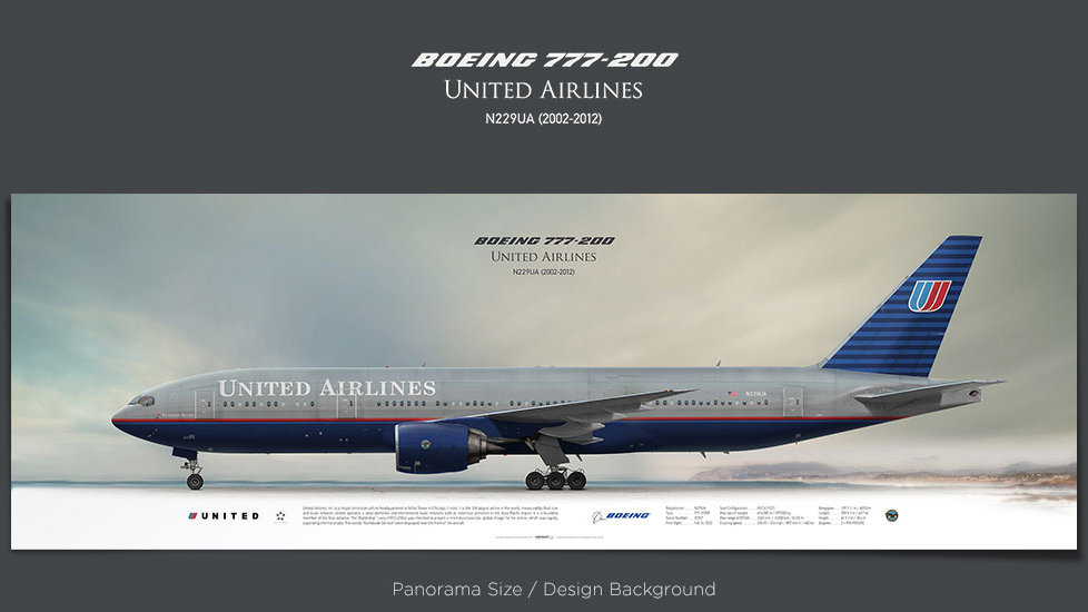 Boeing 777-200 United Airlines, plane prints, retired pilot gift, aviation posters, airliners prints, civil aircraft, UAL