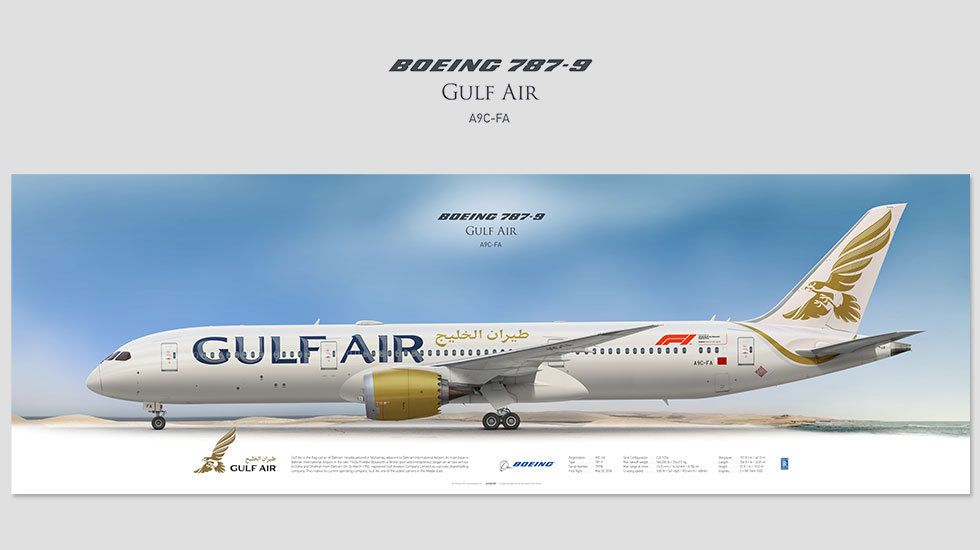 Boeing 787-9 Gulf Air, posterjetavia, airliners profile prints, aviation collectibles prints