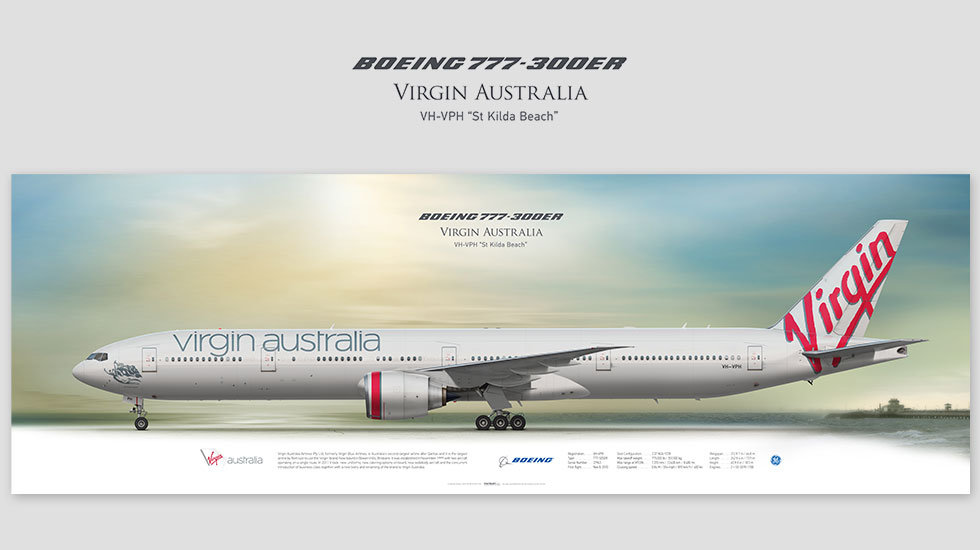 Boeing 777-300ER VH-VPH Virgin Australia, posterjetavia, airliners profile prints, gift for pilots