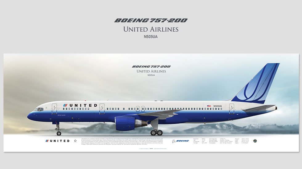 Boeing 757-200 United Airlines, posterjetavia, airliners profile prints, aviation collectibles prints