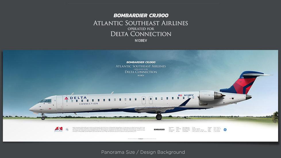 Bombardier CRJ900 Atlantic Southeast Airlines, Delta Connection, , plane prints, retired pilot gift, aviation posters, ASA