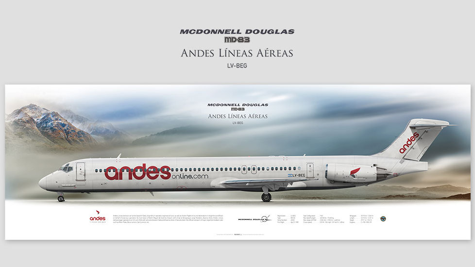 McDonnell Douglas MD-83 Andes, posterjetavia, airliners profile prints, aviation collectibles prints