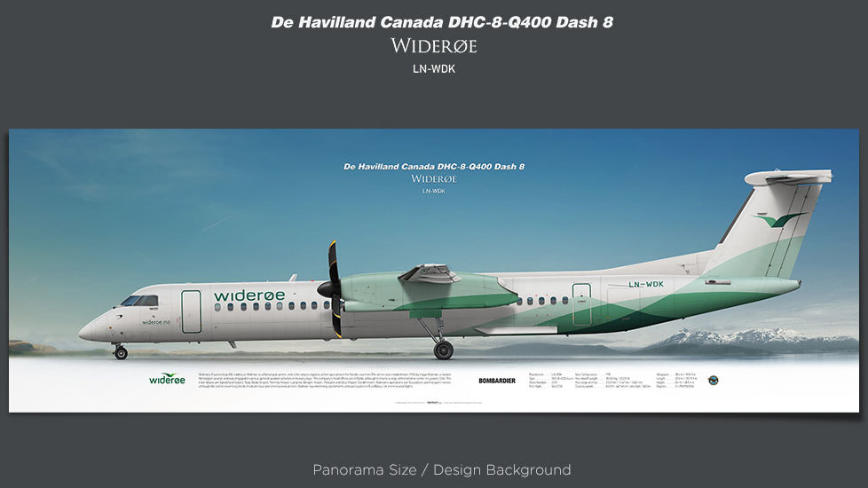 De Havilland Canada DHC-8-Q400 Widerøe, plane prints, retired pilot gift, aviation posters, airliners prints, WIF