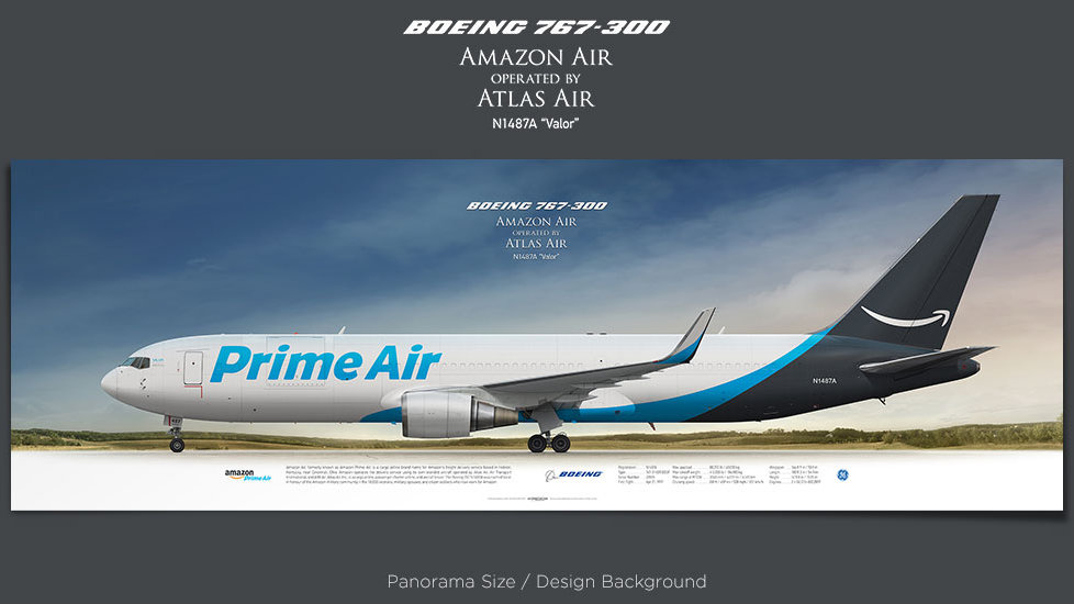 Boeing 767-300 Amazon Air, Atlas Air, Inc., plane prints, retired pilot gift, aviation posters, airliners prints, cargo plane