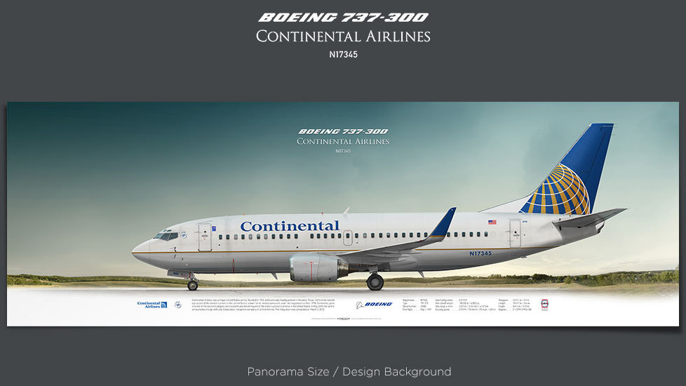 Boeing 737-300 Continental Airlines, plane prints, retired pilot gift, aviation posters, airliners prints, vintage aircraft