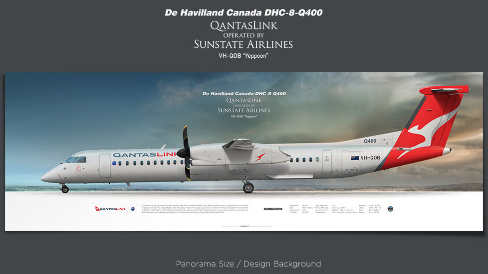 De Havilland Canada DHC-8Q400 QantasLink, Sunstate Airlines, retired pilot gift, aviation posters, airliners prints
