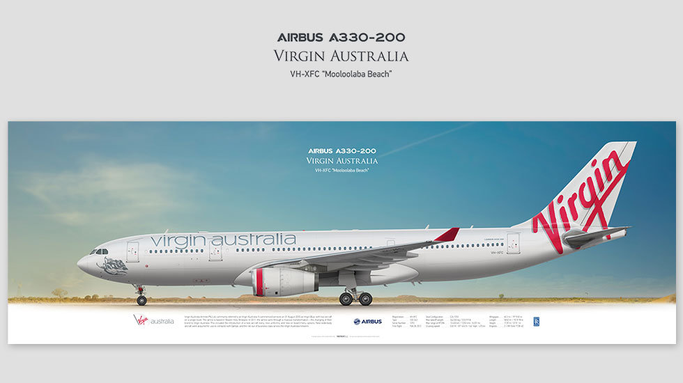 Airbus A330-200 Virgin Australia, posterjetavia, profile prints, gift for pilots, aviation, airplane picture, airline