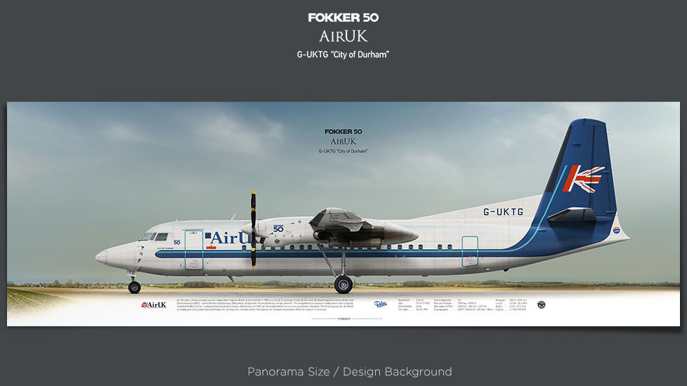 Fokker 50 Air UK, plane prints, retired pilot gift, aviation posters, airliners prints, turboprop, regional airline, UKA