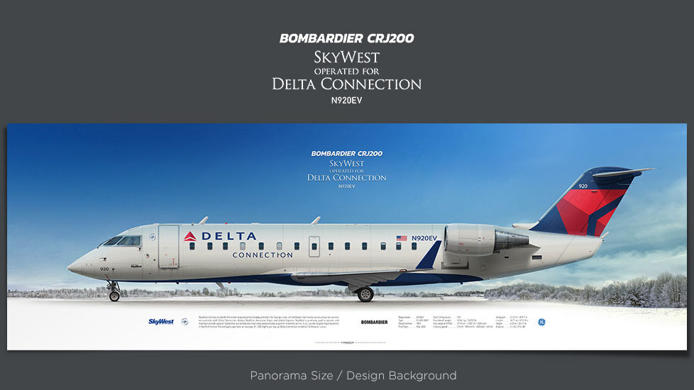 Bombardier CRJ200 SkyWest Airlines, Delta Connection, plane prints, retired pilot gift, aviation posters, SKW, regional jet