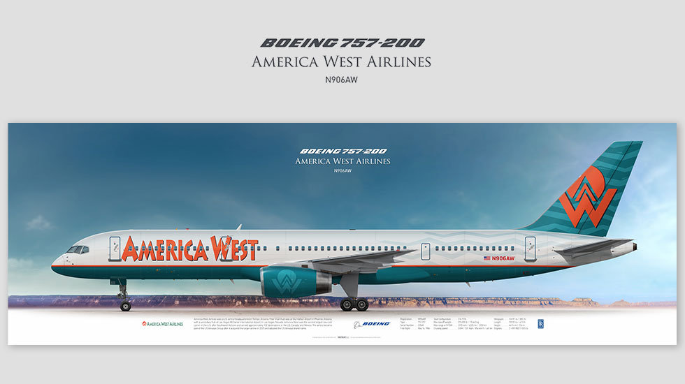Boeing 757-200 America West Airlines, posterjetavia, gifts for pilots, aviation, aviation art , avgeek, airplane pictures