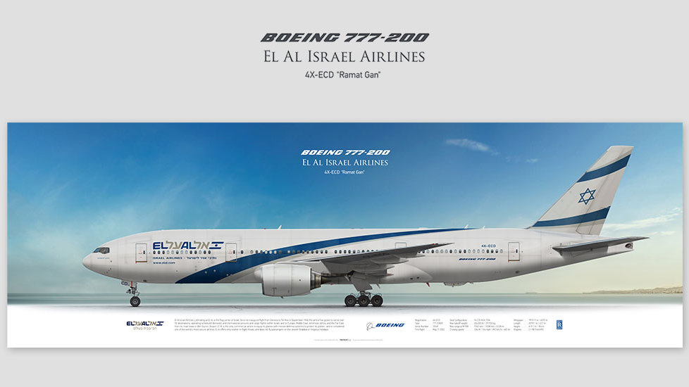 Boeing 777-200 El Al Israel Airlines, posterjetavia, profile prints, gift for pilots, aviation, airplane picture, airline