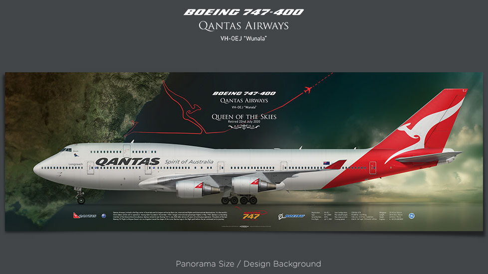 Boeing 747-400 Qantas Airways, plane prints, retired pilot gift, aviation posters, airliners prints, farewell flight