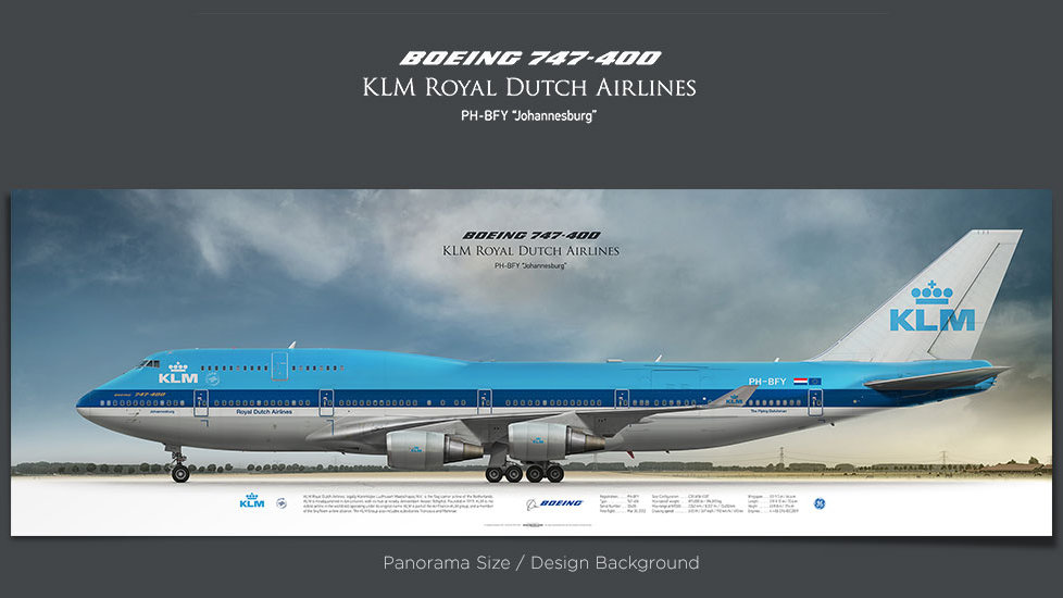Boeing 747-400 KLM, gifts for pilots, aviation prints, aircraft posters, custom posters, retired pilot, boeing 747 poster