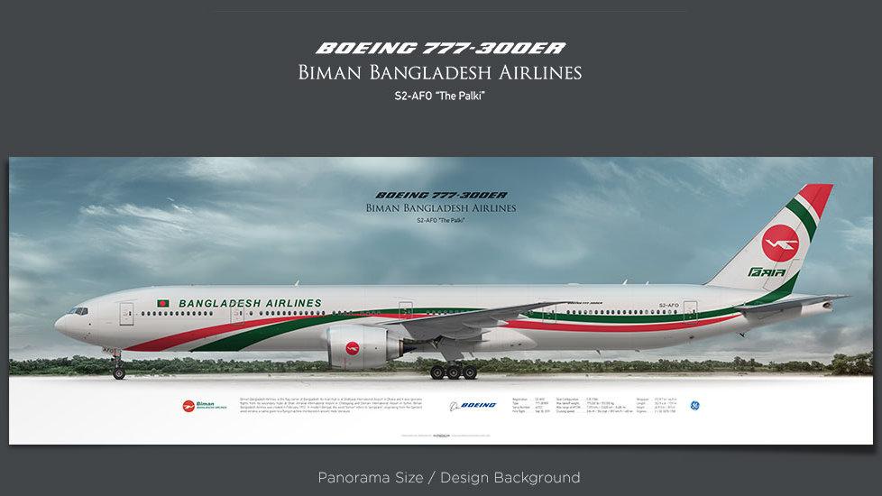 Boeing 777-300ER Biman Bangladesh Airlines, plane prints, retired pilot gift, aviation posters, jetliner, plane image