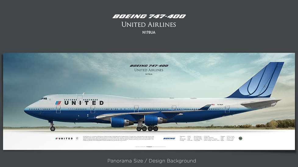 Boeing 747-400 United Airlines, Blue Tulip Livery, plane prints, retired pilot gift, aviation posters, airliners prints, UAL