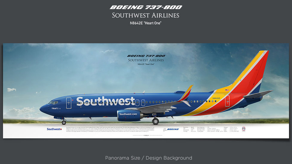 Boeing 737-800 Southwest Airlines, plane prints, retired pilot gift, aviation posters, airliners prints, aircraft print, SWA