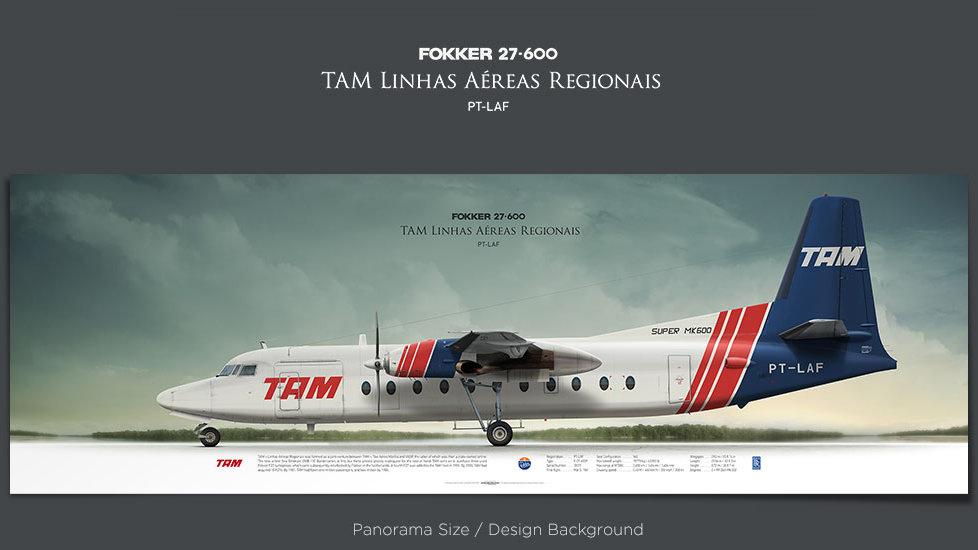 Fokker 27 TAM Linhas Aéreas Regionais, plane prints, retired pilot gift, aviation posters, airliners prints, vintage aircraft