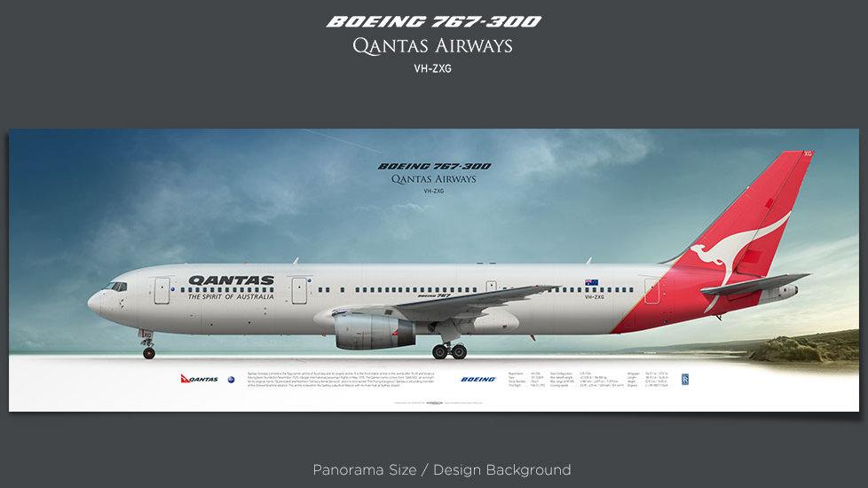 Boeing 767-300 Qantas Airways, plane prints, retired pilot gift, aviation posters, airliners prints, jetliner
