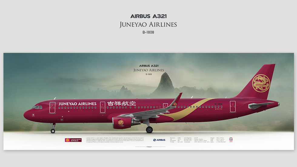 Airbus A321 Juneyao Airlines, gift for pilots, aviation art prints, aircraft poster, custom posters, dkh