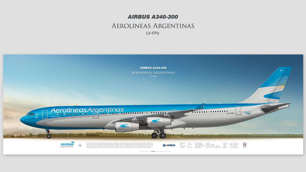Airbus A340-300 Aerolineas Argentinas, posterjetavia, gifts for pilots, aviation, airliner, pilotlife, aviationdaily, avia